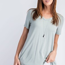 Rae Mode Moss Green Basic V-Neck Top (S-3XL)