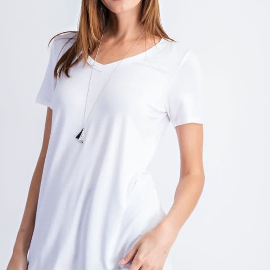 Rae Mode White Basic V-Neck Top (S-3XL)