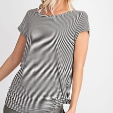 Rae Mode Black Ivory Pinstripe Open Back Top (S-3XL)