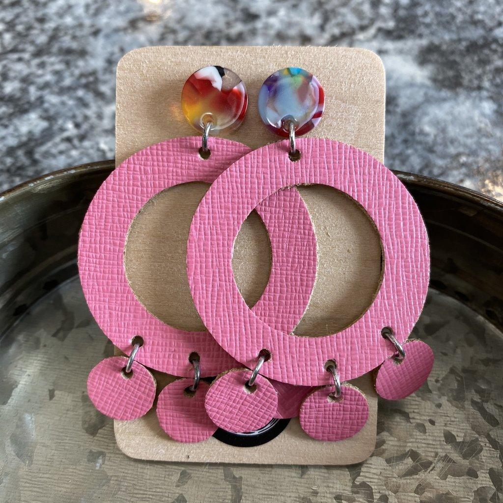 Deer Addie Deer Addie Leather Pink Sassy Circle Earrings