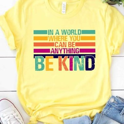 Kissed Apparel Yellow Be Kind Rainbow Tee (S-3XL)