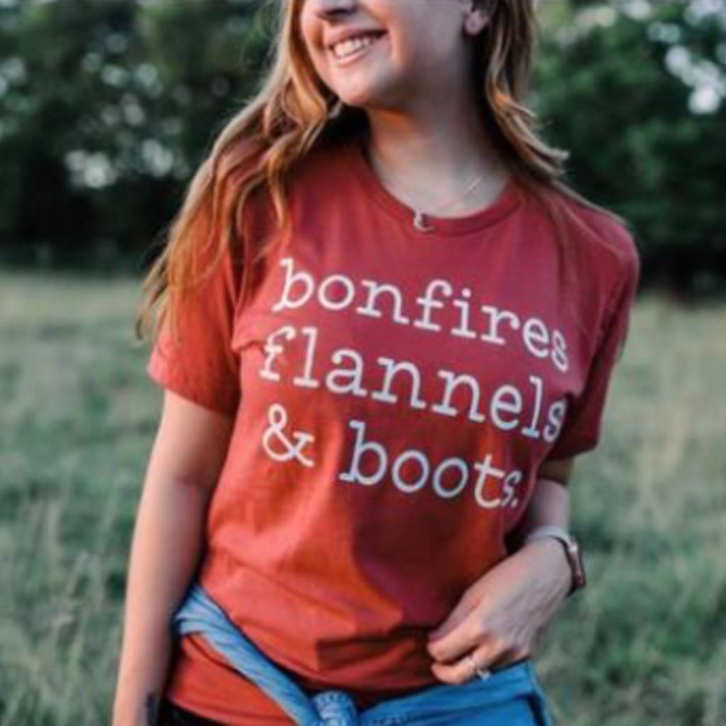 Alabama Threads Rust Bonfires, Flannels & Boots Tee (XS-3XL)