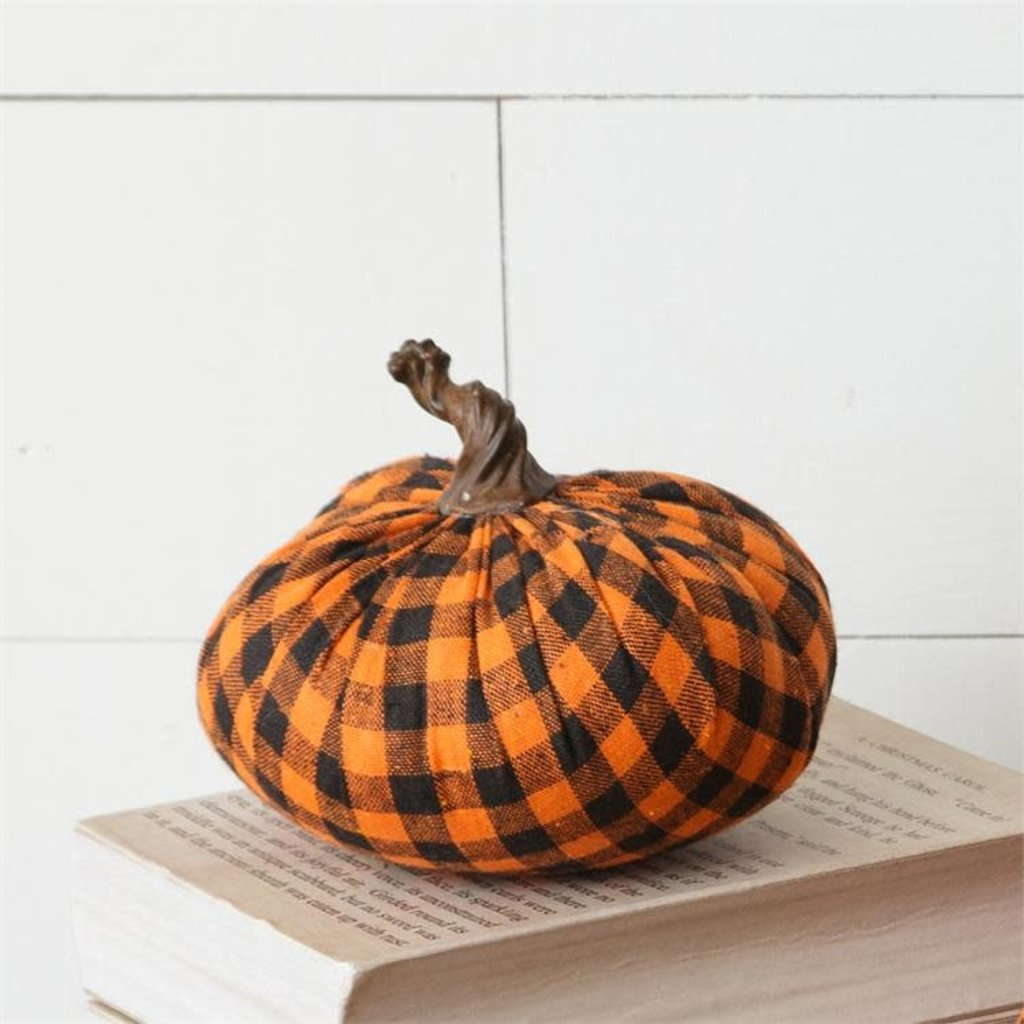 Audrey's Small Fabric Pumpkins - Black & Plaid