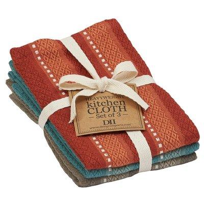 Design Imports Vintage Autumn Stripe Dishcloth - Set of 3