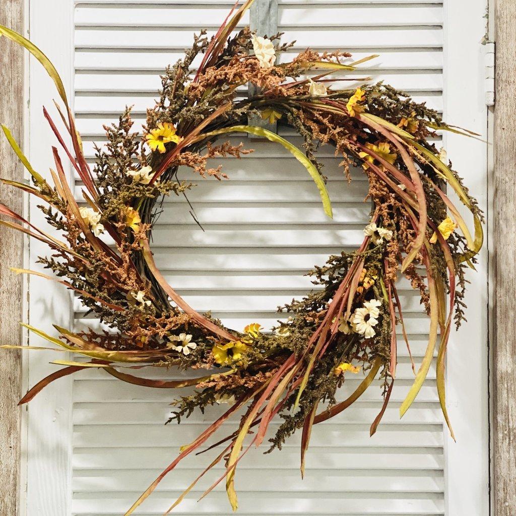 "Audrey's 24"" Wild Grass and Daisy Wreath"