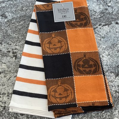 Design Imports Boo Halloween Plaid Dish Towel Set of 2