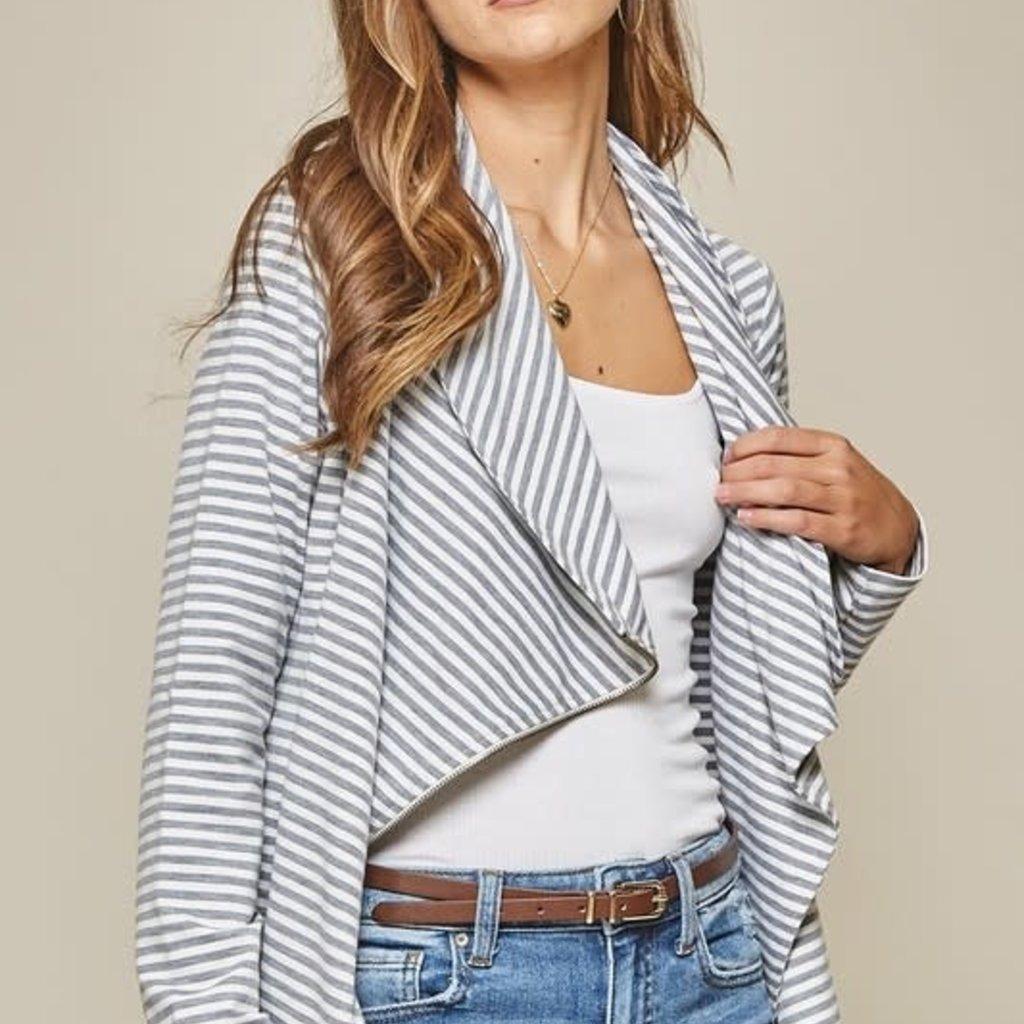 Andree by Unit Gray Stripe Zip Jacket (L-3XL)