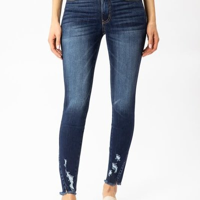 KanCan KanCan Dark Skinnies with Ankle Distressing