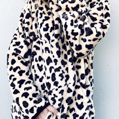 And the Why Taupe Leopard Sherpa Zip-Up Pullover Top (S-L)