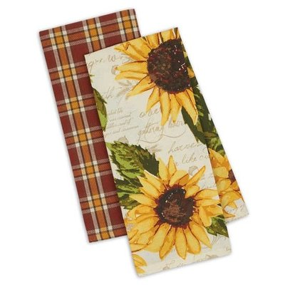 Design Imports Rustic Sunflower Dishtowel Set of 2