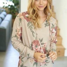 White Birch Taupe Floral Fall Hoodie