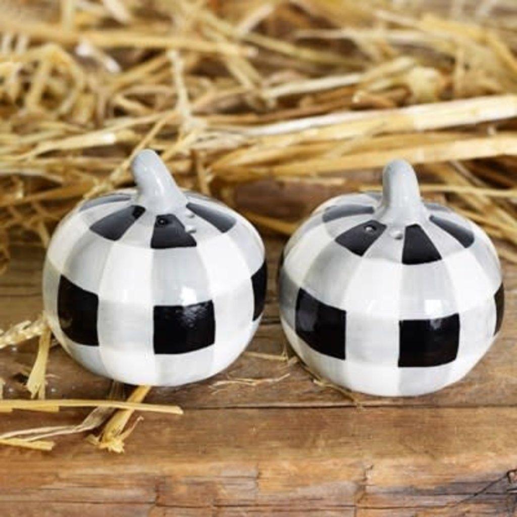 Pd Home & Garden Black White Pumpkin Salt & Pepper Shaker Set