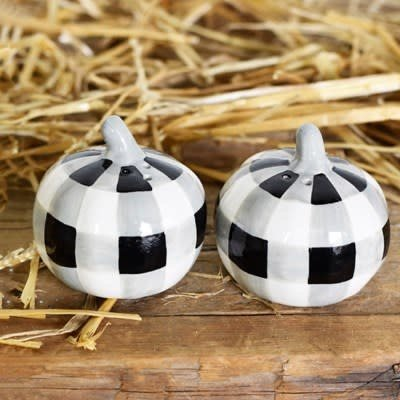 Pd Home & Garden Black White Pumpkin Salt & Pepper Shaker Set