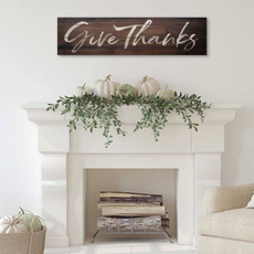 Kindred Hearts 40 x 10 Give Thanks Walnut Slatted Sign