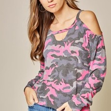 Andree by Unit Hot Pink Charcoal Camo Top (S-3XL)
