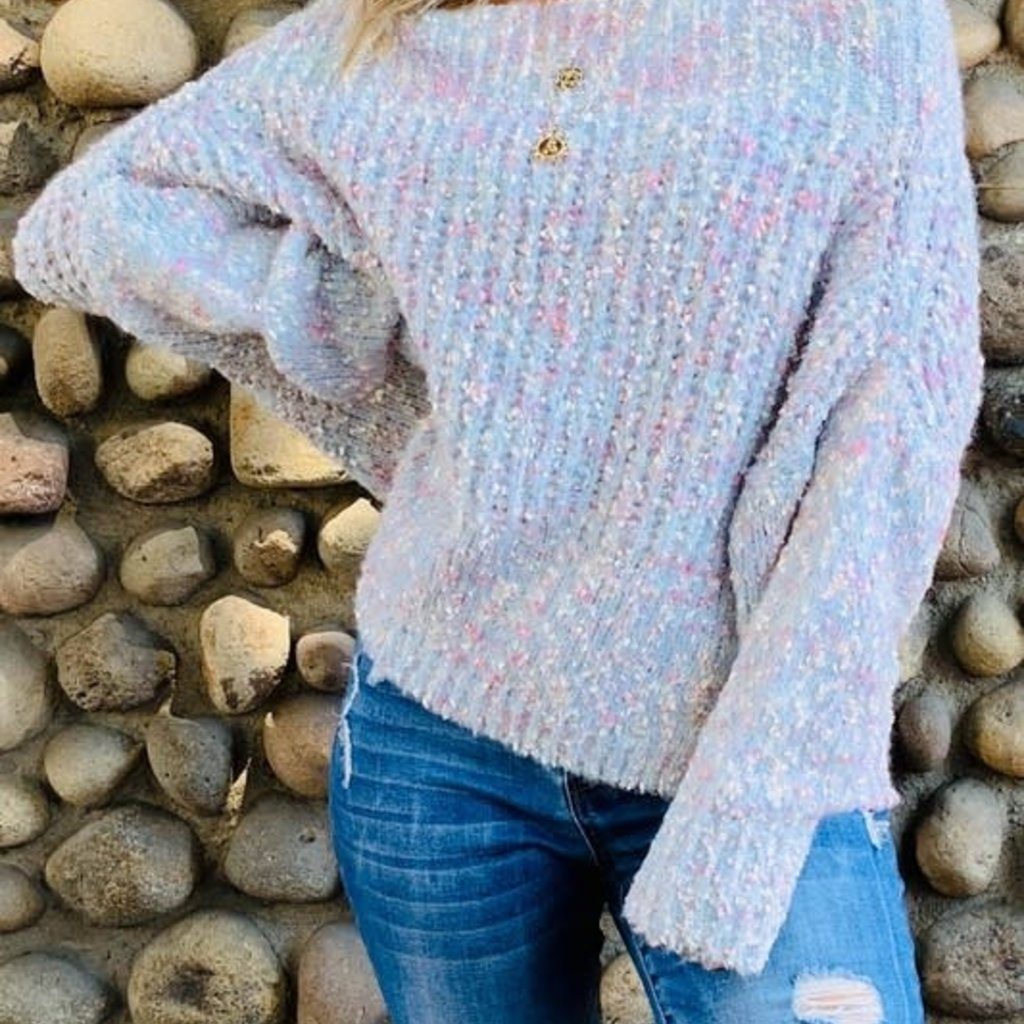 And the Why Baby Blue & Pink Off Shoulder Sweater