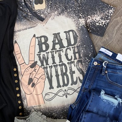Southern Swank Bad Witch Bleached Black Tee (S-3XL)