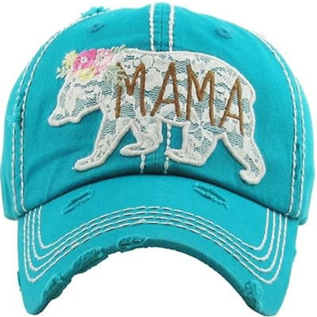 Your Fashion Wholesale Teal Mama Bear Lace Vintage Hat