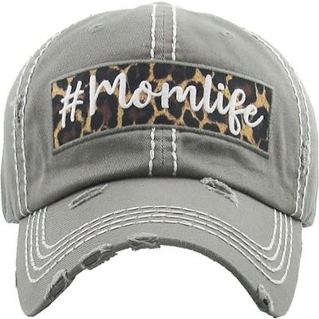 Your Fashion Wholesale Mom Life Leopard Vintage Hat (Gray & Charcoal)