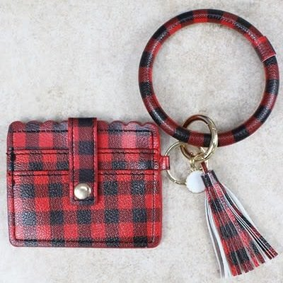Your Fashion Wholesale Red Black Buffalo Check Wallet Key Chain
