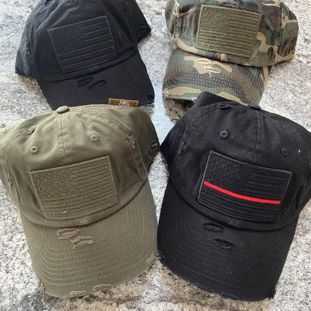 kbethos Distressed American Flag Hat (Black, Thin Red Line, Olive, Camouflage)