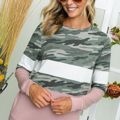 Clothing in America Mauve Camo Long Sleeve Top (S-3XL)