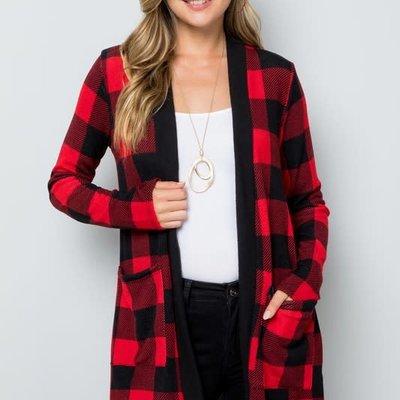 Clothing of America Red Buffalo Plaid Cardigan (1XL-3XL)