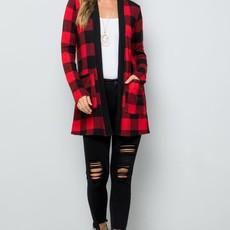Clothing of America Red Buffalo Plaid Cardigan (S-3XL)