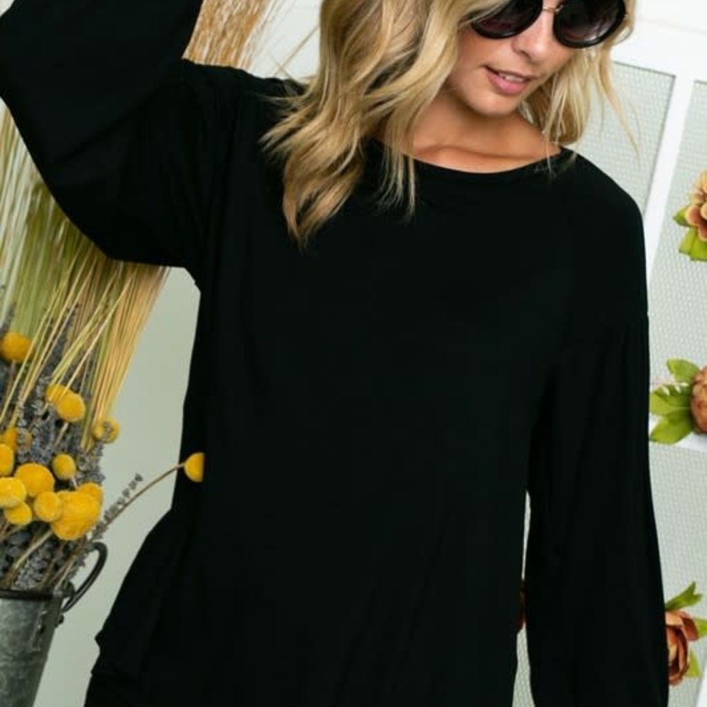 Clothing of America Black Puff Sleeve Top (S-3XL)