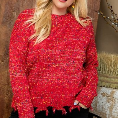 Main Strip Red Confetti Frayed Sweater (S-3XL)