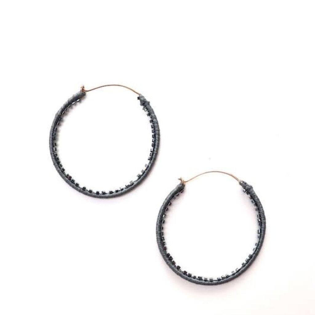 Panache Navy Beaded Hoop Earrings