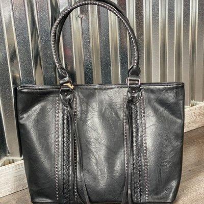Applejuice Large Black Hand Bag with Tassels