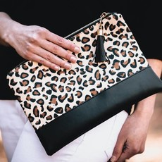 Lauren Lane Leopard Clutch/Make Up Bag