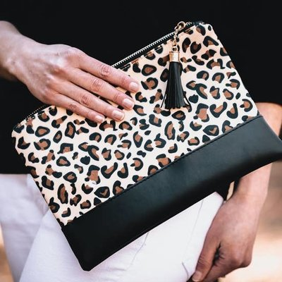 Lauren Lane Leopard Clutch/Make Up Bag