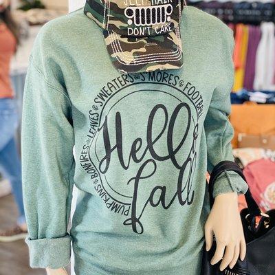 Southern Swank Hello Fall Green Crew Sweatshirt (S-3XL)