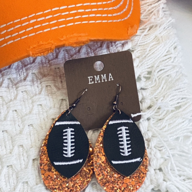 Emma Football Glitter Earrings (Black, Orange & White)