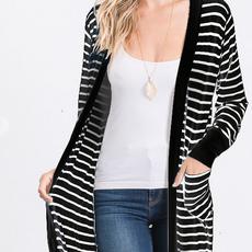 Heimish USA Black & Ivory Striped Cardigan (S-3XL)