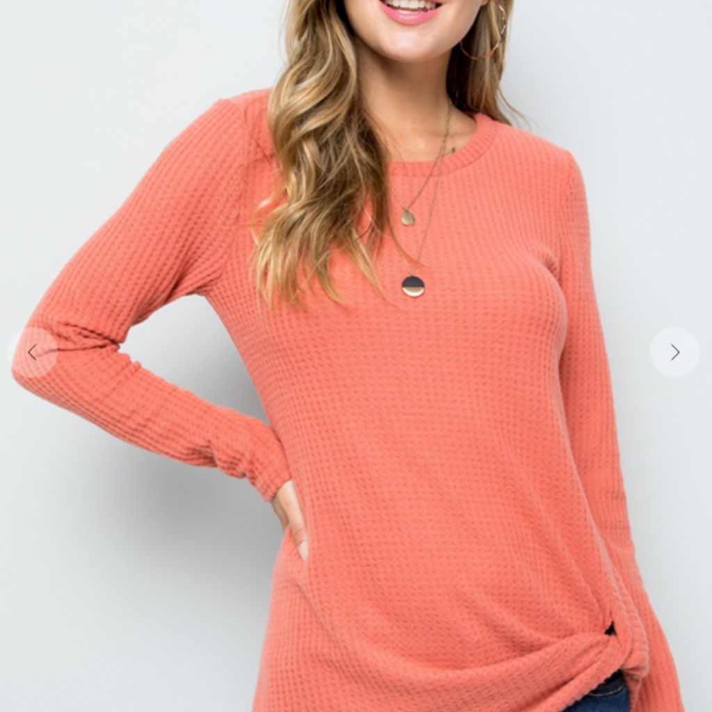 ACTING PRO Coral Waffle Knit Top w/ Twisted Hem (S-3XL)