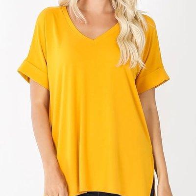 Zenana Mustard Rolled Sleeve Hi-Lo Hem Top (S-XL)