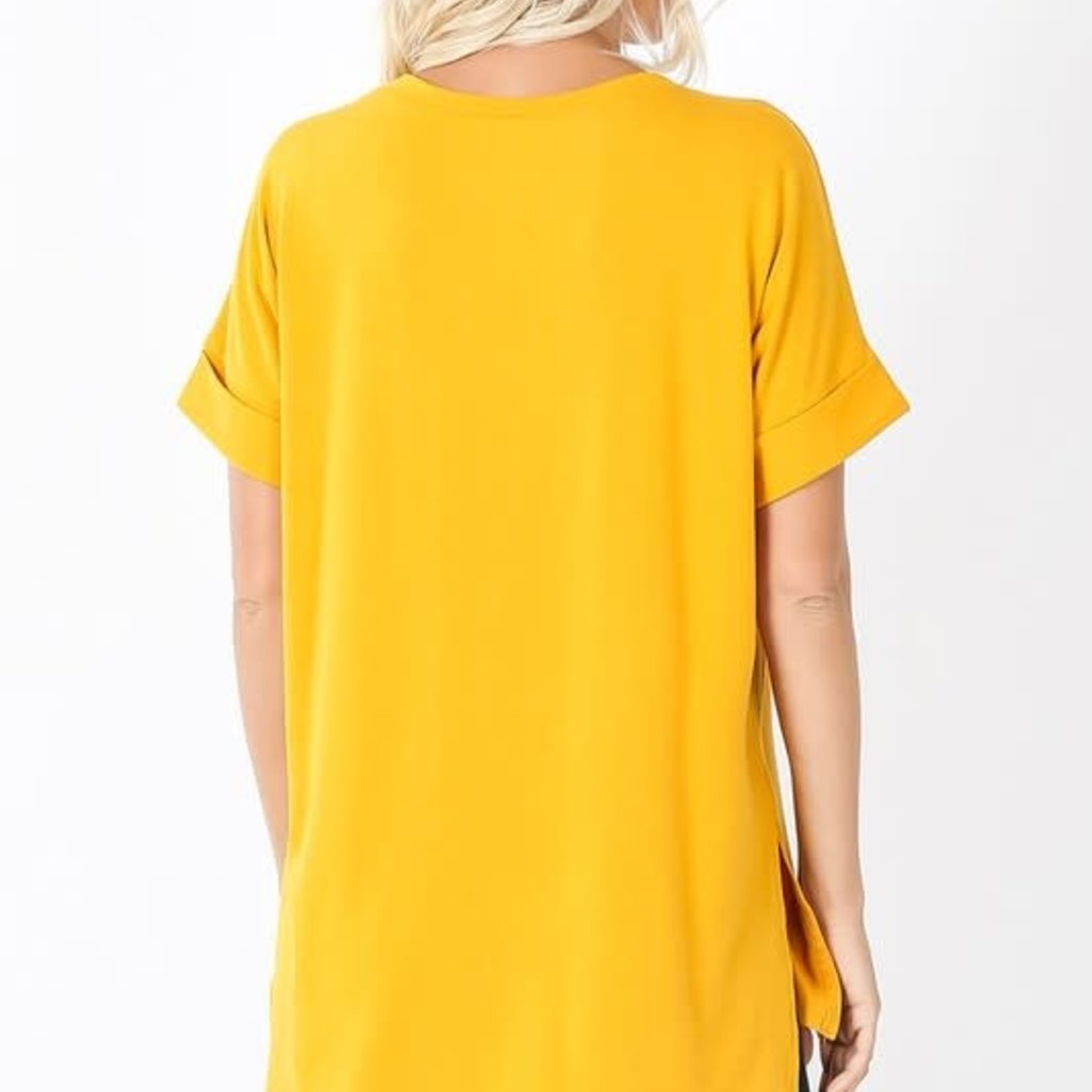 Zenana Mustard Rolled Sleeve Hi-Lo Hem Top (S-XL)