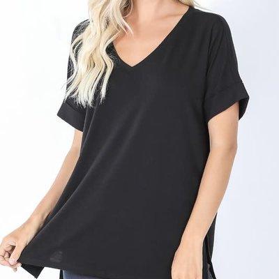 Zenana Black Rolled Sleeve Hi-Lo Hem Top (S-XL)