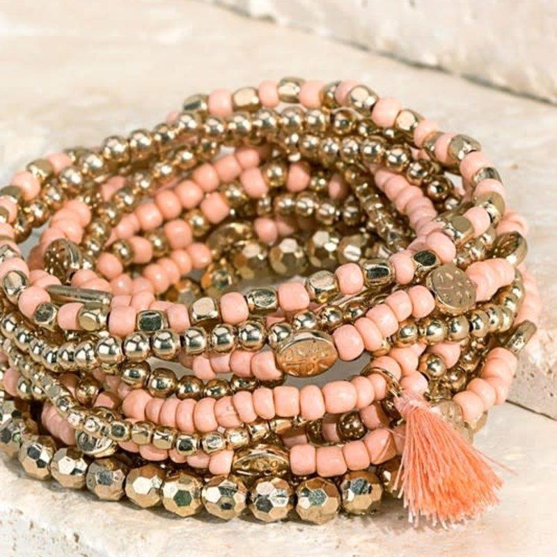 urbanista Mixed Stretchy Peach Bracelet Set