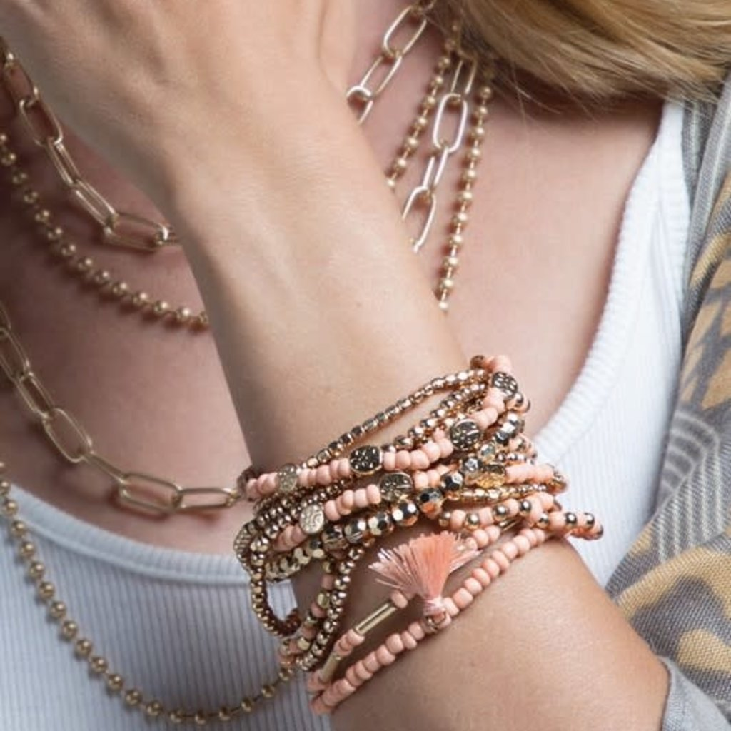 urbanista Mixed Stretchy Peach Bracelet Set