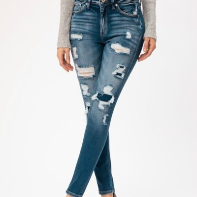 KanCan KanCan High Rise Distressed Patch Skinnies