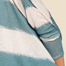 Oddi Teal Striped Oversized Knit Poncho (S-3XL)