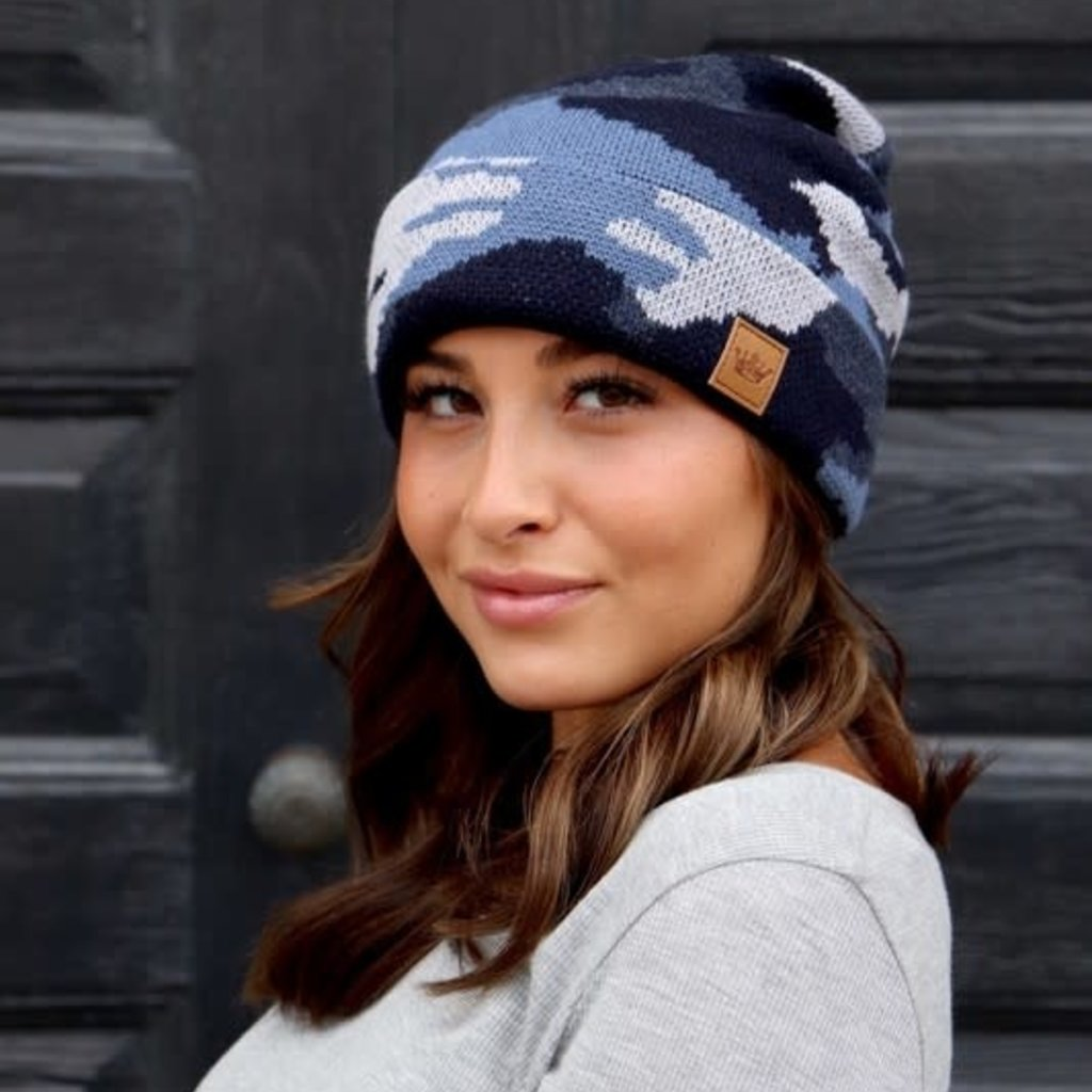 Panache Blue Camo Fleece Lined Beanie