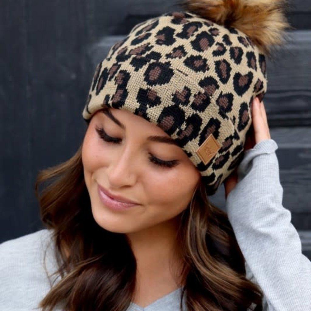 Panache Leopard Knit Pom Beanie