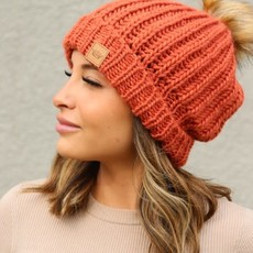 Panache Orange Fleece Lined Knit Pom Beanie