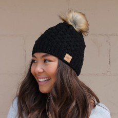 Panache Black Basket Weave Pom Fleece Lined Beanie