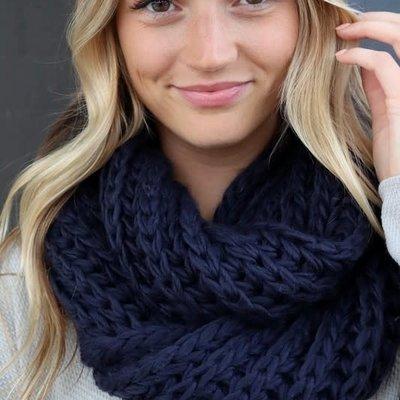 Panache Navy Knit Infinity Scarf